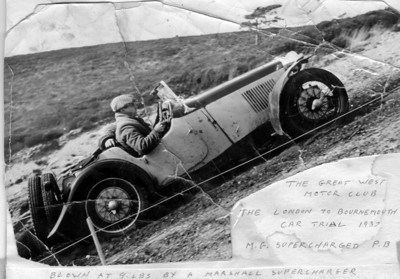 1937 London to Bournemouth car trial organized by The Great West Motor Club, Irene and Bingley Cree in MG PB Supercharged (9 LBs).  Dad passed away May 31st 2011 age 97), Mum passed away in Toronto Dec 26th 2012 age 98