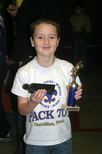 Cody's first car race, 3rd place Pinewood derby car event, Frisco Tx  Jan 8 2010.