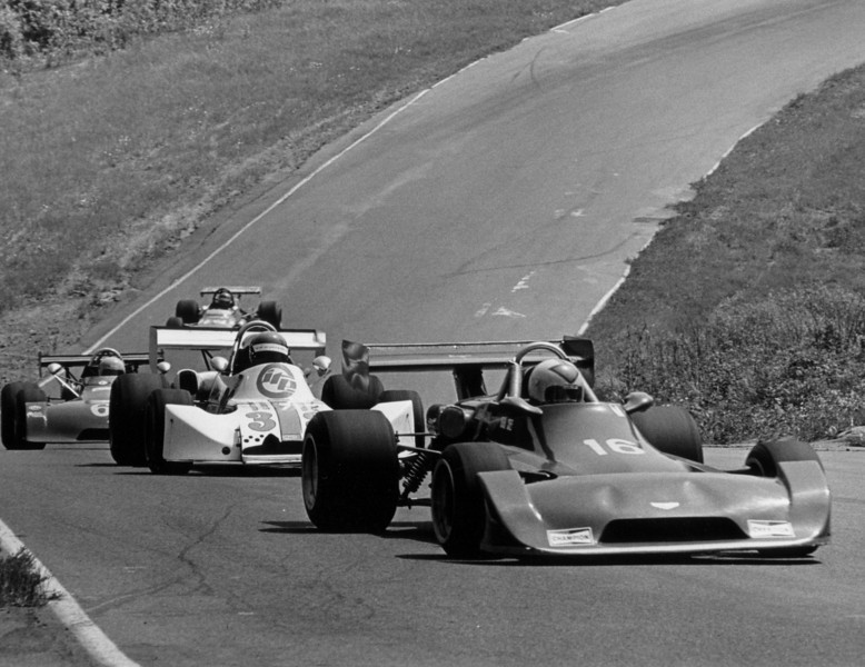 1975 Chevron B29-75-08  Mt. Tremblant  Quebec, shown going up the hill and kink heading for the apprach to Namaero corner. 