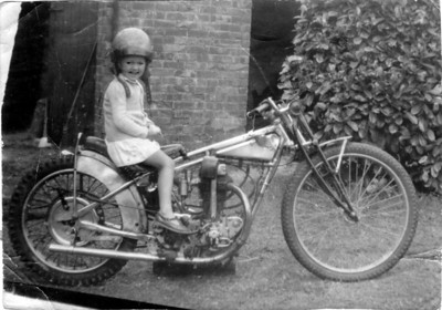 1940s Wartime. Anne Cree on Rudge at Verwood Dorset England