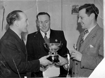 1948 or 49, in Bournemouth, England, with the great TT Rider Les Graham presenting to Bingley Cree.