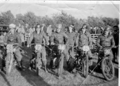 1930s Southern England, Grass Track Racing:  #23-Bingley Cree #17 Charlie Hayden, #15-Alen Chambers, #16 Tom Crutcher (mum's brother), #20-Dink Philpots