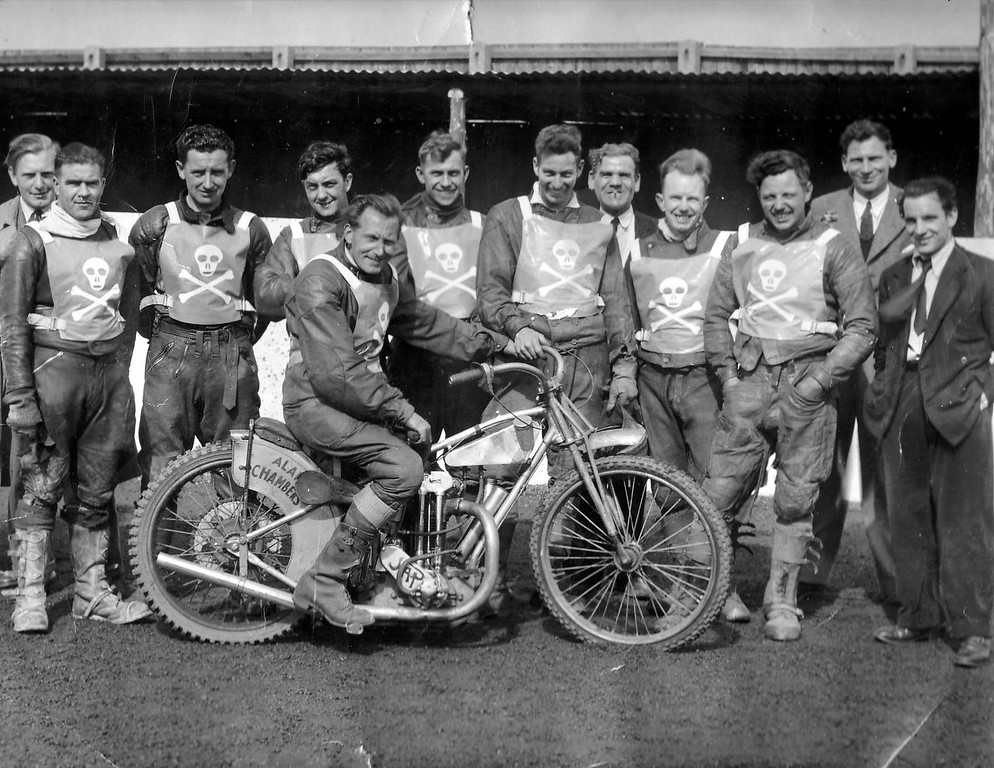 1948 Pool Pirates Speedway team L-R: Herbie Hayden, George Butler, Alf Elliott, Fred Pawson, Sid Clarke, Alan Chambers, Jack Crutcher(cigarette in mouth & my Mother's brother), Sid Hazard, Bingley Cree (3rd from right), Ron Bear, Joe Bowkis and  Charlier Hayden (on bike).