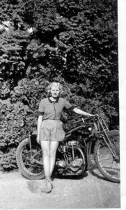 1936, Irene Cree (ne Crutcher) age 23, with a DT Rudge at Ferndown Dorset England. Mum passed away in Toronto Dec 26th 2011 age 98