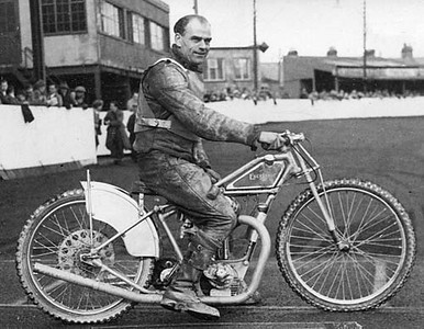 Tom Crutcher (Mum's Brother) at Poole Speedway (Photo courtesy of Steve Hayden Bournemouth England) Steve is the grandson of Charlie Hayden, one of Dad's old racing pals).