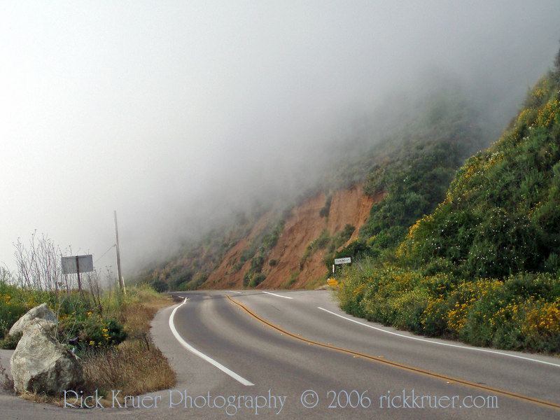Eileen's photo of the heavy fog on the coast road near Big Sur, CA.<br /> P7080220-FogRoad-2