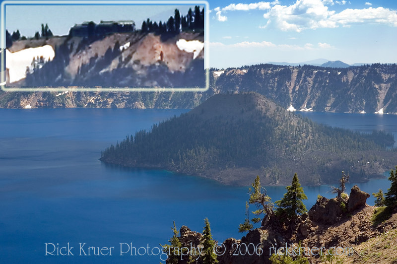 Crater Lake Lodge INSET - Crater Lake Wizard Island looking toward the southeast, taken from Merriam Point near the North Entrance of Rim Drive. <br /> <br /> The INSET photo (upper right) is the Crater Lake Lodge (where we will be staying tonight on the other side of the lake on the edge of the caldera). It is located in the photo directly above the summit of Wizard Island.<br /> <br /> ND70_2006-07-26DSC_6006-CraterLakeWizardIsland-LodgeZoomInset-3 copy.jpg