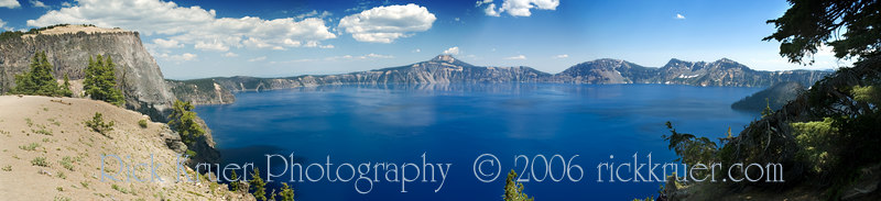 Panorama photo of Crater Lake, Oregon (photos 6007, 6008, 6009, 6010) taken July 26, 2006 at Merriam Point near the North Rim entrance on the west side of the lake. Copyright © 2006 Rick Kruer rickkruer.com