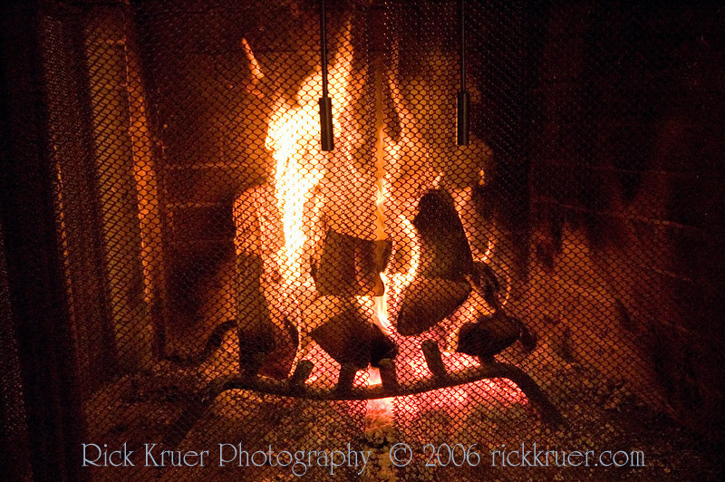RIck made a roaring fire to keep us warm this night. Actually, we had a fire EVERY night. It's easy to gather the wood from downstairs and the fire makes the evening very enjoyable (and WARM!).<br /> <br /> ND70_2006-07-23DSC_5731-RoaringFire-2.jpg