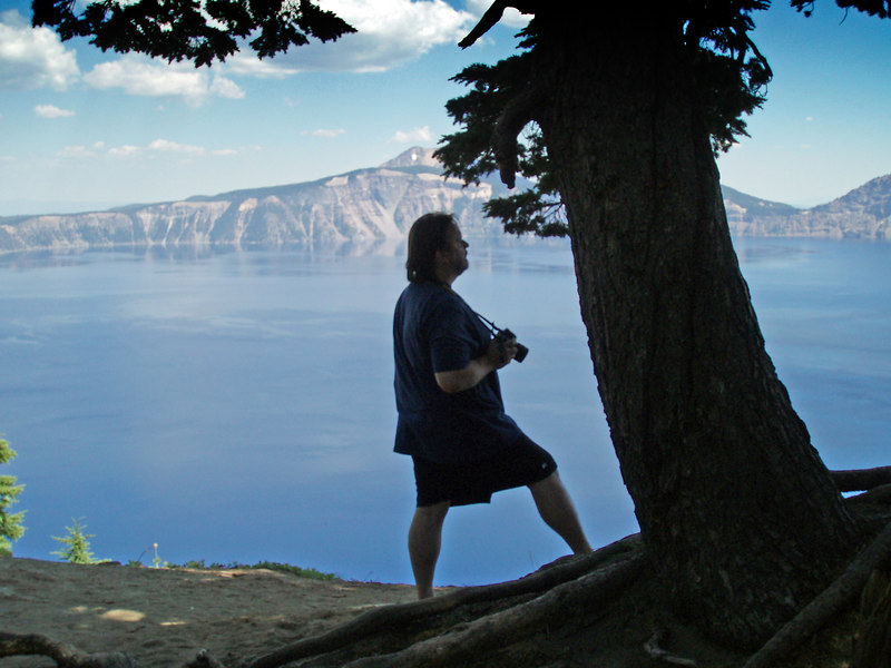 Silhouette of Rick resting between photos on the west side of Crater Lake looking toward the east.<br /> P7250497-RickSilloutteCraterLakeMerriamPoint-2 copy.jpg