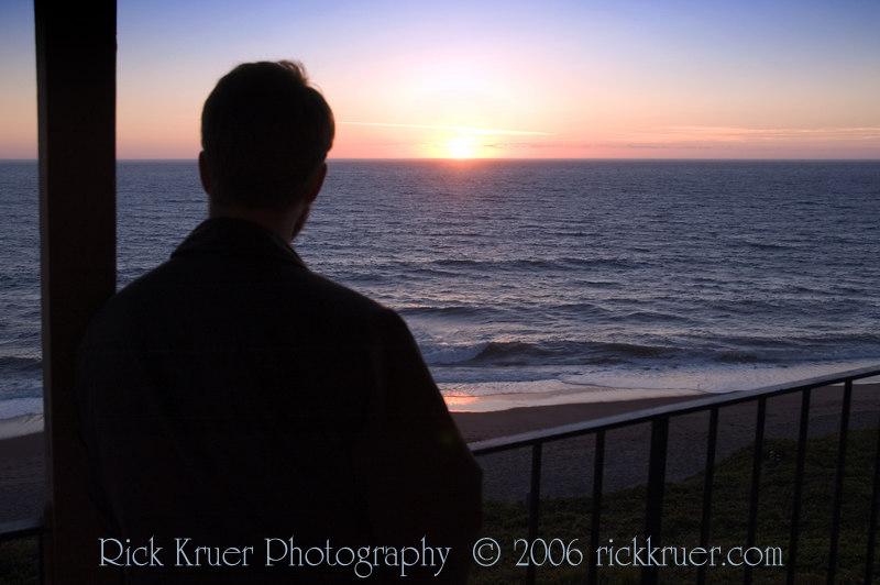 Matthew enjoying another beautiful Oregon sunset on the balcony of the Cavalier condo.<br /> <br /> ND70_2006-07-18DSC_5177-MatthewSunset-nice-2 copy.jpg
