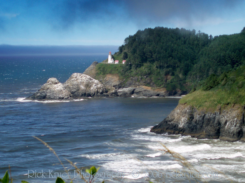 Eileen's photo of Heceta Head Lighthouse, looking north on US 101, Pacific Coast Highway as we make our way toward Florence, OR.<br /> P7240458-HecetaHeadLighthouseZoom-2 copy.jpg