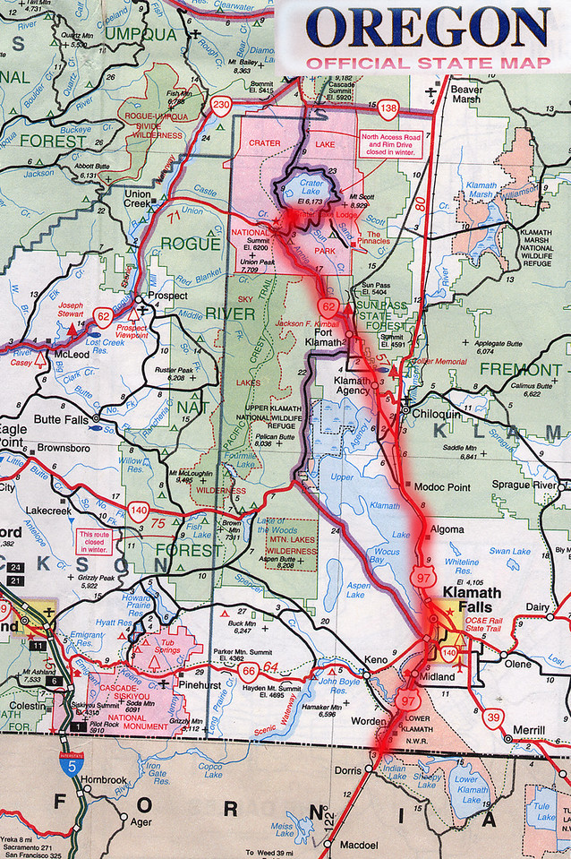 Scanned Oregon road map of the route from Crater Lake, OR to Sacramento, CA part 1 of 3. This is the actual map we used on our fantastic trip!<br /> Scanned-OregonCaliforniaMap-CraterLakeORToSacramentoCA-1of3-3.jpg
