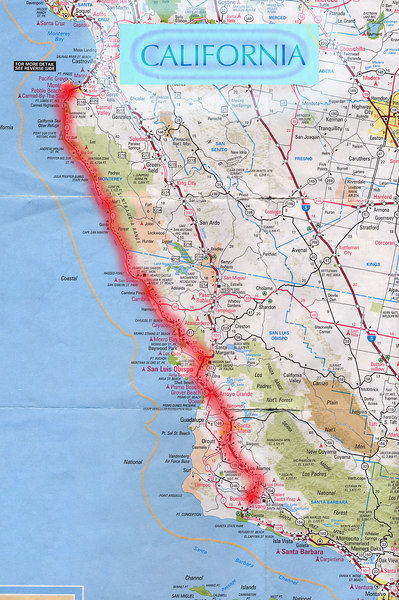 Scanned California road map of the route from Solvang, CA to Monterey, CA through Big Sur, CA coastline. This is the actual map we used on our fantastic trip!<br /> Scanned-CaliforniaMap-SolvangCAToMontereyCA-3.jpg