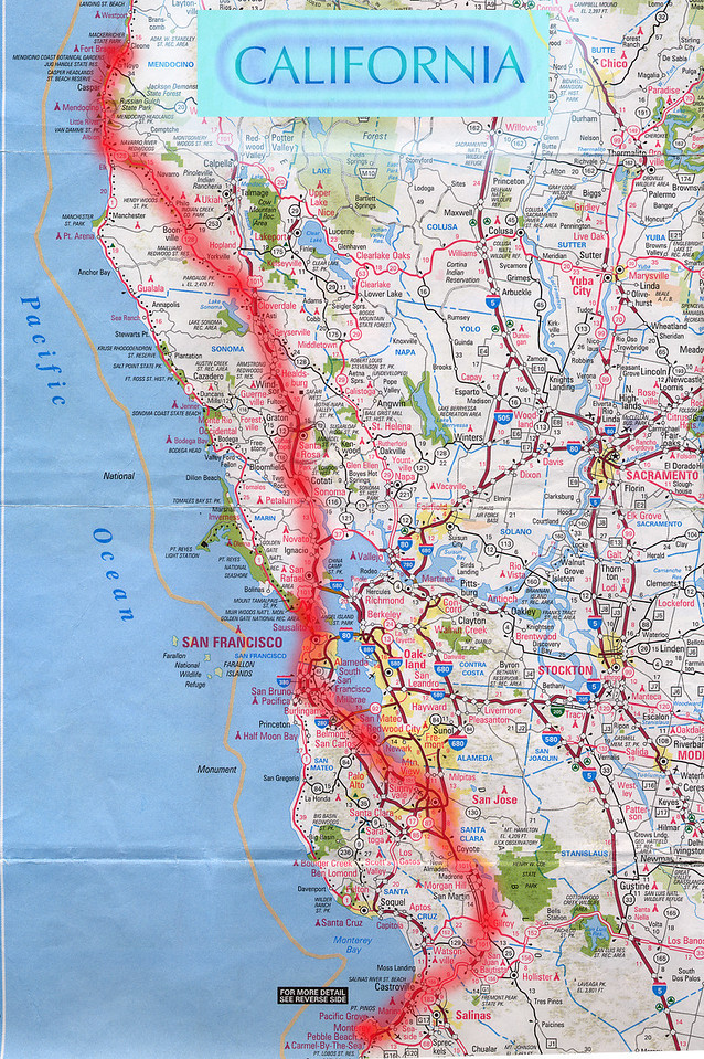 Scanned California road map of the route from Monterey, CA to Fort Bragg, CA. This is the actual map we used on our fantastic trip!<br /> Scanned-CaliforniaMap-MontereyCAToFortBraggCA-3.jpg