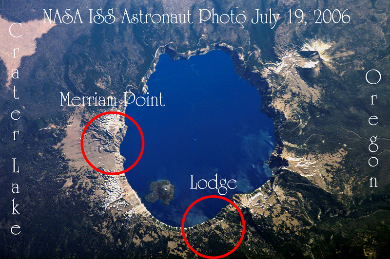 NASA Astronaut photo taken from ISS International Space Station July 19, 2006 (1 week before our visit). Merriam Point photo spot marked as well as the Crater Lake Lodge where we stayed for the night.<br /> <br /> CraterLake-NASA-AstronautPhoto-20060719-ESC_large_ISS013_ISS013-E-54243-4 copy.jpg