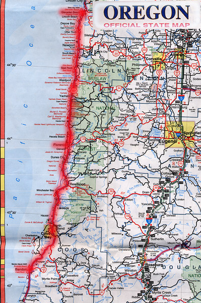 Scanned Oregon road map of the route from Crescent City, CA to Gleneden Beach, OR part 2 of 2. This is the actual map we used on our fantastic trip!<br /> Scanned-CaliforniaOregonMap-CrescentCityCAToGlenedenBeachOR-2of2-3.jpg