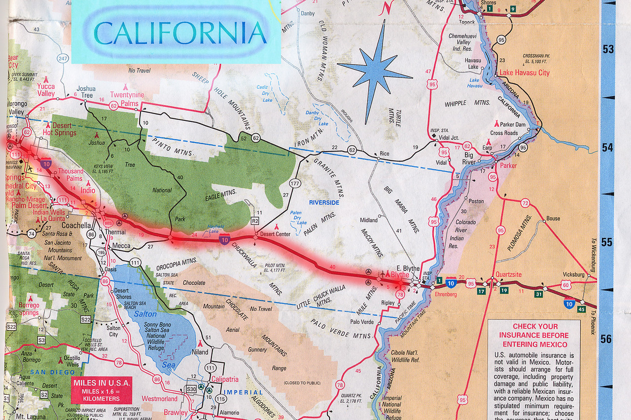 Scanned California road map of the route from Blythe, CA to Solvang, CA part 1 of 2. This is the actual map we used on our fantastic trip!<br /> Scanned-CaliforniaMap-BlytheCAToSolvangCA-1of2-3.jpg