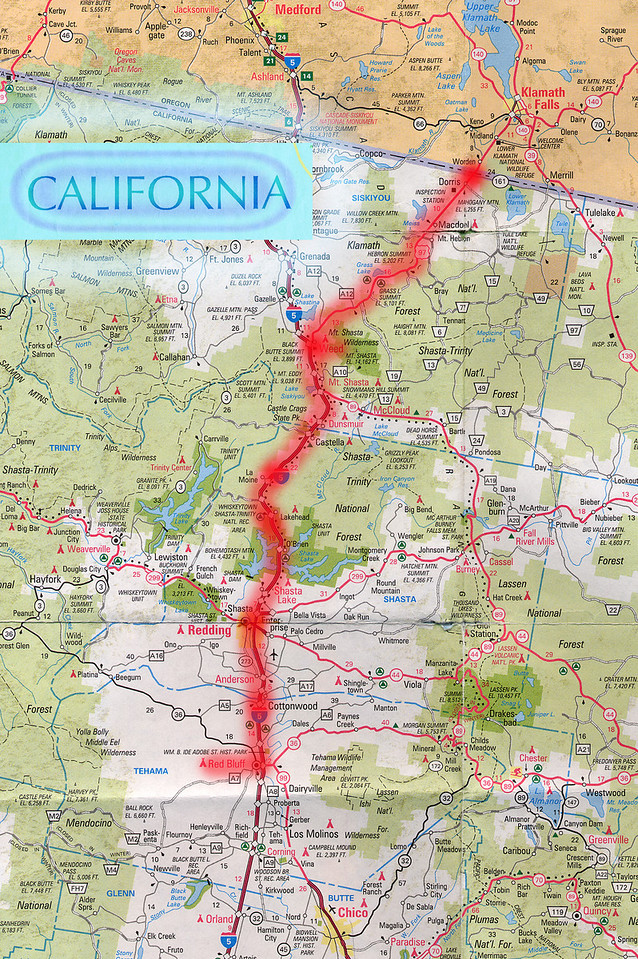 Scanned California road map of the route from Crater Lake, OR to Sacramento, CA part 2 of 3. This is the actual map we used on our fantastic trip!<br /> Scanned-OregonCaliforniaMap-CraterLakeORToSacramentoCA-2of3-3.jpg