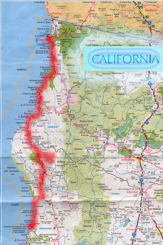 Scanned California road map of the route from Fort Bragg, CA to Crescent City, CA through the California Redwoods. This is the actual map we used on our fantastic trip!<br /> Scanned-CaliforniaMap-FortBraggCAToCrescentCityCA-3.jpg