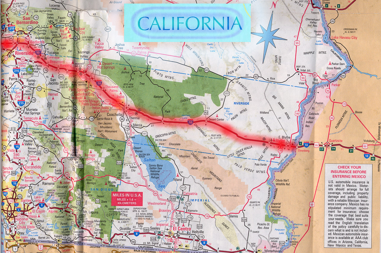 Scanned California road map of the route from Colton, CA to Mesa, AZ part 1 of 2. This is the actual map we used on our fantastic trip!<br /> <br /> Scanned-CaliforniaArizonaMap-ColtonCAToMesaAZ-1of2-3.jpg