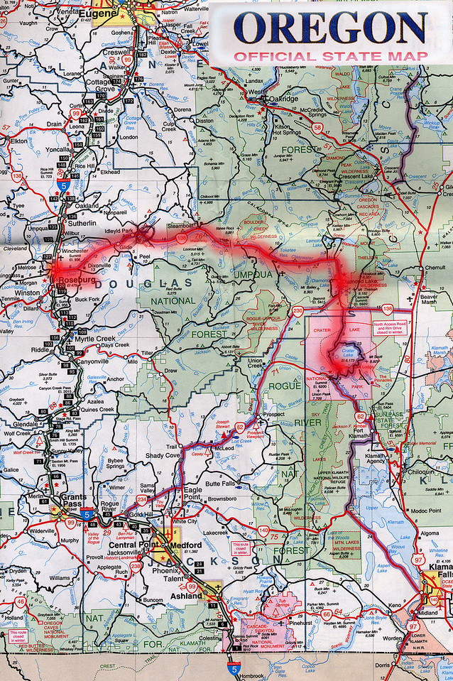 Scanned Oregon road map of the route from Roseburg, OR to Crater Lake, OR. This is the actual map we used on our fantastic trip!<br /> Scanned-OregonMap-RoseburgORToCraterLakeOR-3.jpg