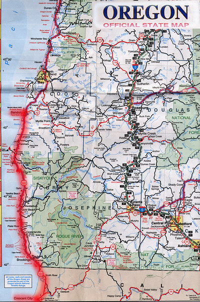 Scanned Oregon road map of the route from Crescent City, CA to Gleneden Beach, OR part 1 of 2. This is the actual map we used on our fantastic trip!<br /> Scanned-CaliforniaOregonMap-CrescentCityCAToGlenedenBeachOR-1of2-3.jpg