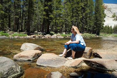 Eileen enjoying a moment of Zen listening to the nice quiet sounds on the beautiful Tuolumne River on the east side of Yosemite.  D200_2007-07-02DSC_0691-EileenZenMomentTuolumneRiver-nice-2.JPG