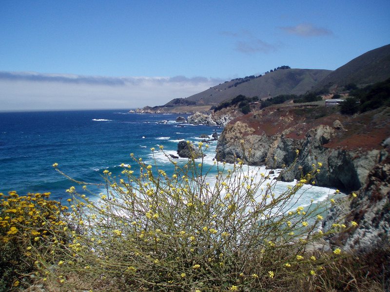 Eileen's nice wide angle photo of the blue ocean and coast at Rocky Creek near Big Sur, CA.<br /> P7252010-RockyCreekWide-2.jpg