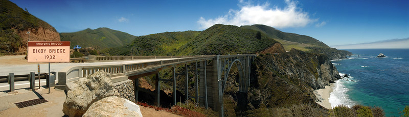 Historic Bixby Bridge (1932) Panorama of 4 Photos<br /> Big Sur, California<br /> July 2007<br /> <br /> Copyright © 2007 Rick Kruer<br /> rickkruer.com<br /> <br /> D200_2007-07-25DSC_3271-3272-3273-3274-3275-BixbyBridge-Panorama-4.psd