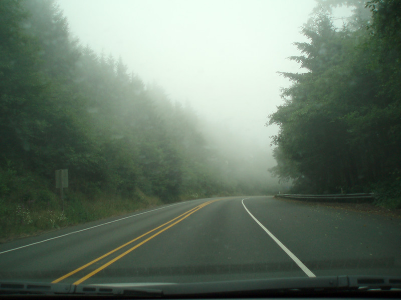 The fog is heavy on the OR 101 coast road as we approach Cape Foulweather, Oregon.<br /> P7141537-Road-OR101-CapeFoulweatherFog-2.jpg