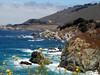 Eileen's great photo of the rocks along the coast of Big Sur at Rocky Creek. See the Seagull?<br /> P7252012-RockyCreekSeagullFlowers-2.jpg