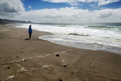 Eileen's Moment of Zen by the Ocean Gleneden Beach, Oregon July 2007  Copyright © 2007 Rick Kruer rickkruer.com  D200_2007-07-19DSC_2497-EileenZenWatchingSurf-nice-2.psd