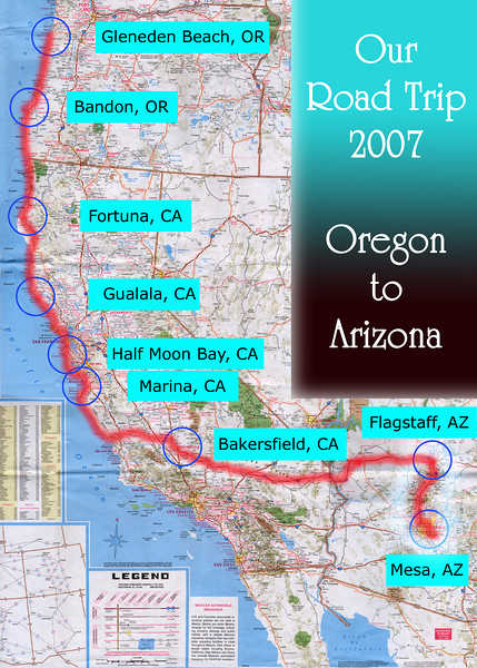 Our Road Trip 2007 Scanned Road Maps<br /> <br /> Oregon to Arizona: Flagstaff, AZ to Mesa, AZ<br /> <br /> July 27, 2007<br /> <br /> Scanned-WestUSMap-AZ-CA-OR-1Thru8-Photomerge-OurRoadTrip2007-ORtoAZ-5-FlagstaffAZtoMesaAZ.jpg