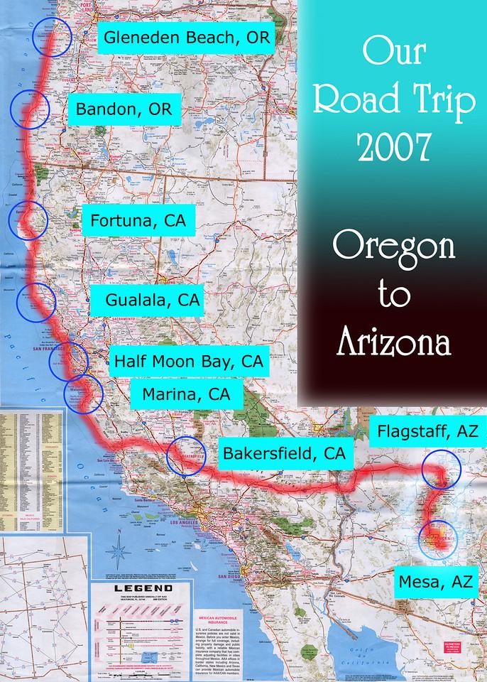 Our Road Trip 2007 Scanned Road Maps<br /> <br /> Oregon to Arizona: Flagstaff, AZ to Mesa, AZ<br /> <br /> July 27, 2007<br /> <br /> Scanned-WestUSMap-AZ-CA-OR-1Thru8-Photomerge-OurRoadTrip2007-ORtoAZ-5-FlagstaffAZtoMesaAZ.jpg