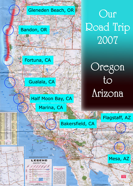 Our Road Trip 2007 Scanned Road Maps<br /> <br /> Oregon to Arizona: Bandon, OR to Fortuna, CA<br /> <br /> July 21, 2007<br /> <br /> Scanned-WestUSMap-AZ-CA-OR-1Thru8-Photomerge-OurRoadTrip2007-ORtoAZ-5-BandonORtoFortunaCA.jpg