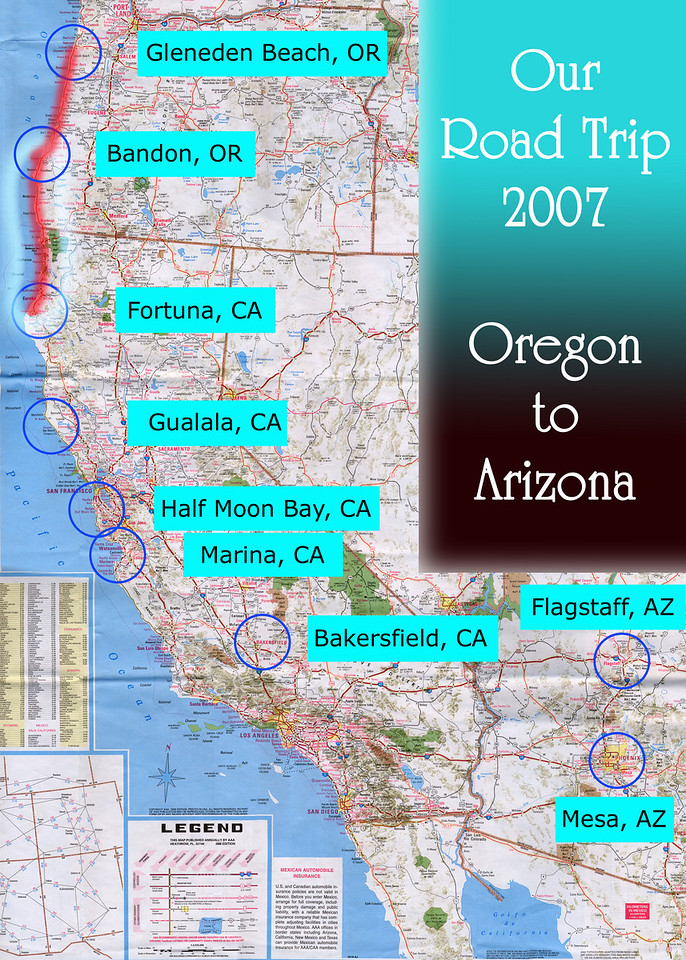 Our Road Trip 2007 Scanned Road Maps<br /> <br /> Oregon to Arizona: Bandon, OR to Fortuna, CA<br /> <br /> July 21, 2007<br /> <br /> Scanned-WestUSMap-AZ-CA-OR-1Thru8-Photomerge-OurRoadTrip2007-ORtoAZ-5-BandonORtoFortunaCA.jpg