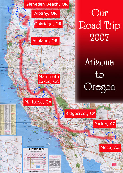 Our Road Trip 2007 Scanned Road Maps<br /> <br /> Arizona  to Oregon: Oakridge, OR to Albany, OR<br /> <br /> July 05, 2007<br /> <br /> Scanned-WestUSMap-AZ-CA-OR-1Thru8-Photomerge-OurRoadTrip2007-AZtoOR-4-OakridgeORtoAlbanyOR.jpg