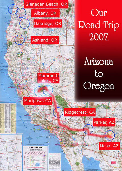 Our Road Trip 2007 Scanned Road Maps<br /> <br /> Arizona to Oregon: Mammoth Lakes, CA to Mariposa, CA <br /> <br /> July 02, 2007<br /> <br /> Scanned-WestUSMap-AZ-CA-OR-1Thru8-Photomerge-OurRoadTrip2007-AZtoOR-4-MammothLakesCAtoMariposaCA.jpg