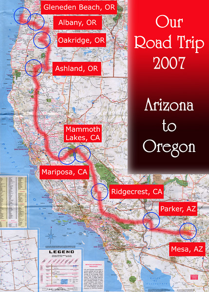 Our Road Trip 2007 Scanned Road Maps<br /> <br /> Arizona (June 29) to Oregon (July 06): Mesa, AZ to Parker, AZ (June 29) to Ridgecrest, CA (June 30) to Mammoth Lakes, CA (July 01) to Mariposa, CA (July 02) to Ashland, OR (July 03) to Oakridge, OR (July 04) to Albany, OR (July 05) to Gleneden Beach, OR (July 06).<br /> <br /> Scanned-WestUSMap-AZ-CA-OR-1Thru8-Photomerge-OurRoadTrip2007-AZtoOR-4 copy.jpg