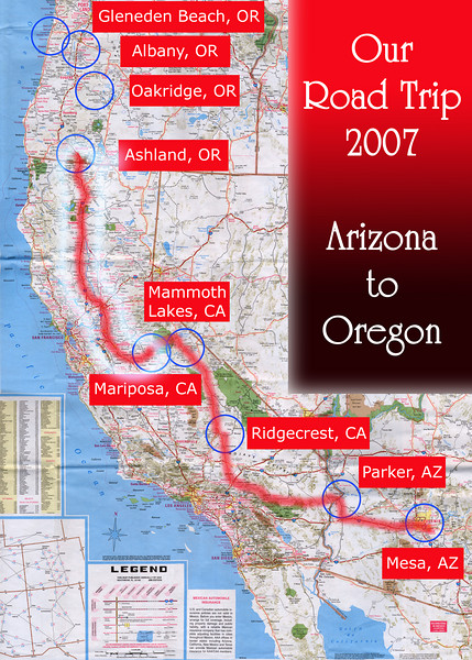 Our Road Trip 2007 Scanned Road Maps<br /> <br /> Arizona to Oregon: Mariposa, CA to Ashland, OR<br /> <br /> July 03, 2007<br /> <br /> Scanned-WestUSMap-AZ-CA-OR-1Thru8-Photomerge-OurRoadTrip2007-AZtoOR-4-MariposaCAtoAshlandOR.jpg