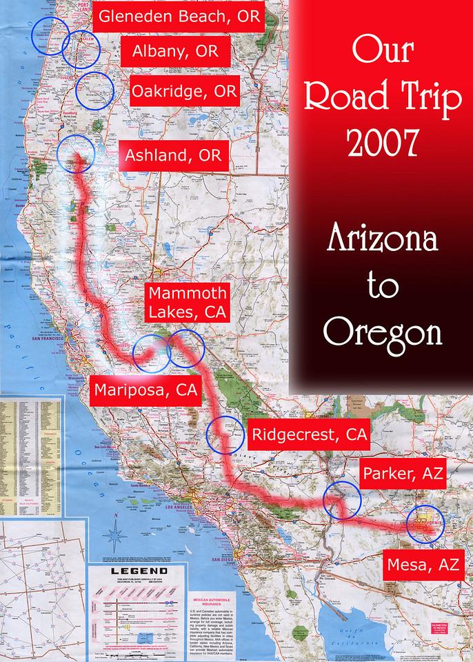 Our Road Trip 2007 Scanned Road Maps<br /> <br /> Arizona to Oregon: Mariposa, CA to Ashland, OR<br /> <br /> July 03, 2007<br /> <br /> Scanned-WestUSMap-AZ-CA-OR-1Thru8-Photomerge-OurRoadTrip2007-AZtoOR-4-MariposaCAtoAshlandOR.jpg