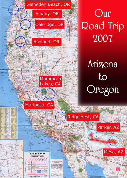 Our Road Trip 2007 Scanned Road Maps<br /> <br /> Arizona to Oregon: Mesa, AZ to Parker, AZ <br /> <br /> June 29, 2007<br /> <br /> Scanned-WestUSMap-AZ-CA-OR-1Thru8-Photomerge-OurRoadTrip2007-AZtoOR-4-MesaAZtoParkerAZ.jpg