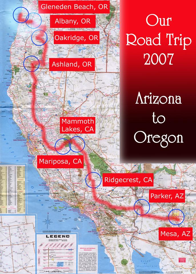 Our Road Trip 2007 Scanned Road Maps<br /> <br /> Arizona  to Oregon: Albany, OR to Gleneden Beach, OR.<br /> <br /> July 06, 2007<br /> <br /> Scanned-WestUSMap-AZ-CA-OR-1Thru8-Photomerge-OurRoadTrip2007-AZtoOR-4-AlbanyORtoGlenedenBeachOR.jpg