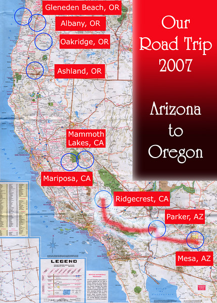 Our Road Trip 2007 Scanned Road Maps<br /> <br /> Arizona to Oregon: Parker, AZ to Ridgecrest, CA<br /> <br /> June 30, 2007<br /> <br /> Scanned-WestUSMap-AZ-CA-OR-1Thru8-Photomerge-OurRoadTrip2007-AZtoOR-4-ParkerAZtoRidgecrestCA.jpg
