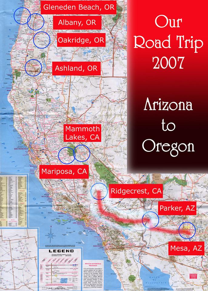 Our Road Trip 2007 Scanned Road Maps<br /> <br /> Arizona to Oregon: Parker, AZ to Ridgecrest, CA<br /> <br /> June 30, 2007<br /> <br /> Scanned-WestUSMap-AZ-CA-OR-1Thru8-Photomerge-OurRoadTrip2007-AZtoOR-4-ParkerAZtoRidgecrestCA.jpg