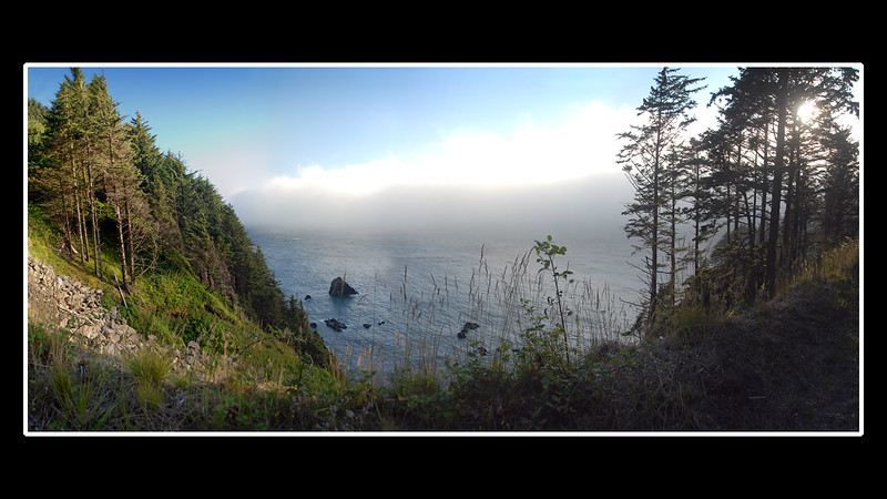 Panorama Wide View of Otter Crest in the Afternoon Fog (5 Photos)<br /> Central Oregon Coast near Cape Foulweather, Oregon<br /> July 2008<br /> <br /> Copyright © 2008 Rick Kruer<br /> rickkruer.com<br /> <br /> D200_2008-07-13DSC_6581--6585-OtterCrestFogPan-3.psd