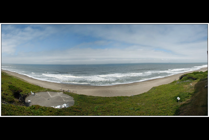Panorama of the Central Oregon Coast on a Foggy Day<br /> Cavalier Condo, Gleneden Beach, Oregon<br /> July 2008<br /> <br /> Copyright © 2008 Rick Kruer<br /> rickkruer.com<br /> <br /> D200_2008-07-19DSC_7105--7109-CavFogPan-3.psd