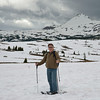 Stan snowshoeing across the tundra at Sunshine Meadow.