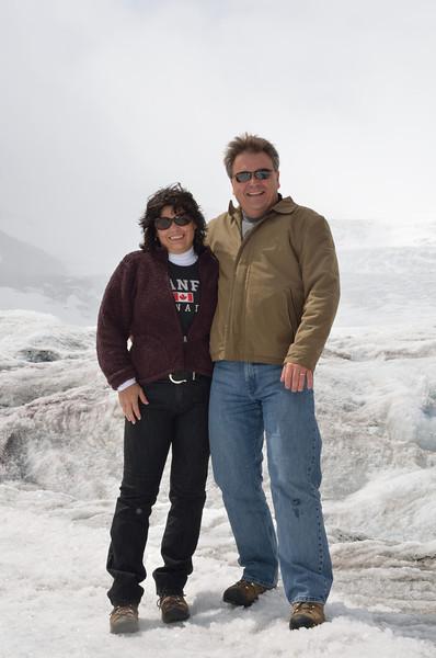 Enjoying the glacier.